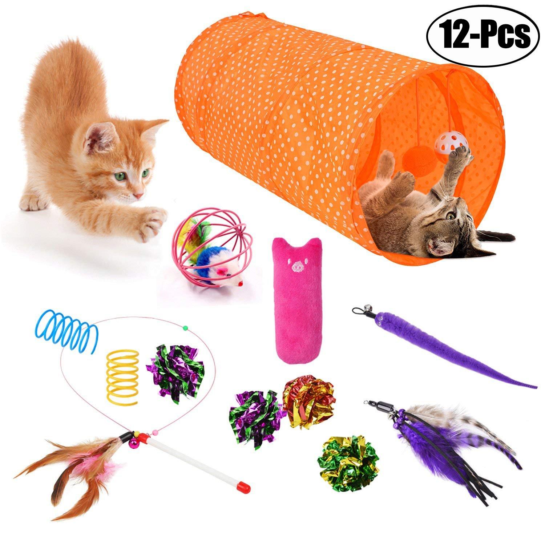 Legendog Cat Toys, Interactive Feather Cat Toy Ball Sisal Mice Toys Wand Kitty Cat Catnip Toys (12 Pcs Cat Toys Orange)