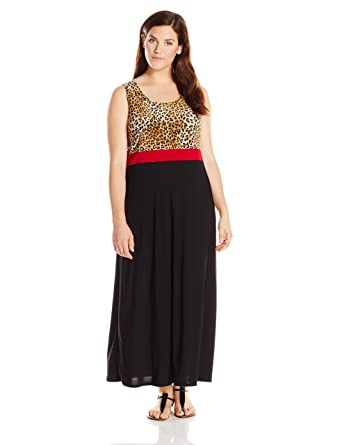 17f917e229784 Star Vixen Women s Plus Size Sleeveles PRT Colorblock Maxi at Amazon ...