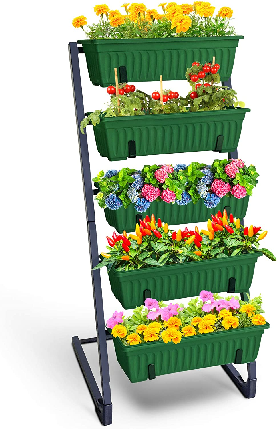 4FT Vertical Raised Garden Bed Freestanding 5 Tier Vertical Planters with Plant Tags Perfect for Herb Vegetables Flower Gardening in Your Patio Balcony Porch Terrace