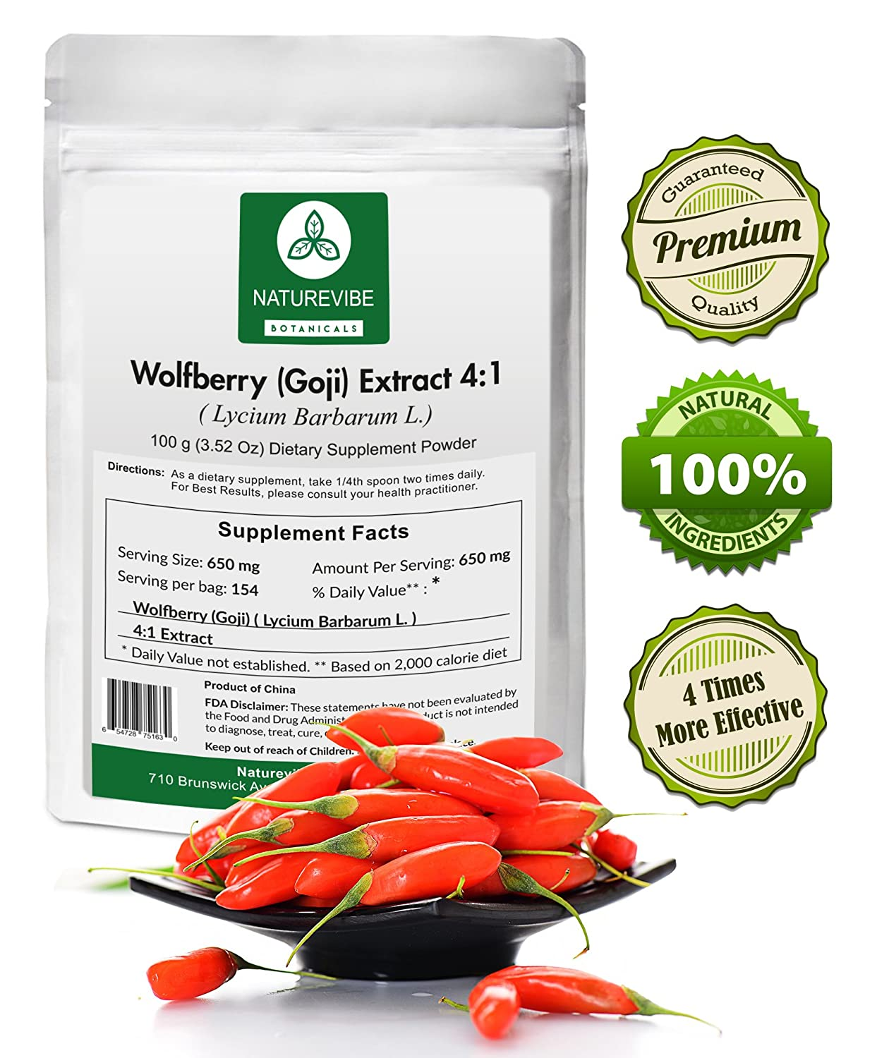 Amazon.com: Naturevibe Botanicals Wolfberry (Goji) Extract Powder 4:1 (100 grams) - 4 x more effective - Boosts Immunity - Supports Vision: Health ...