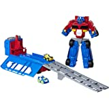Transformers Action & Toy Figures TRA RBT Optimus Prime Race Track Trailer Playset