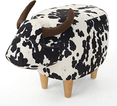 Christopher Knight Home Bessie Patterned Velvet Cow Ottoman, Black And White Cow Hide Natural