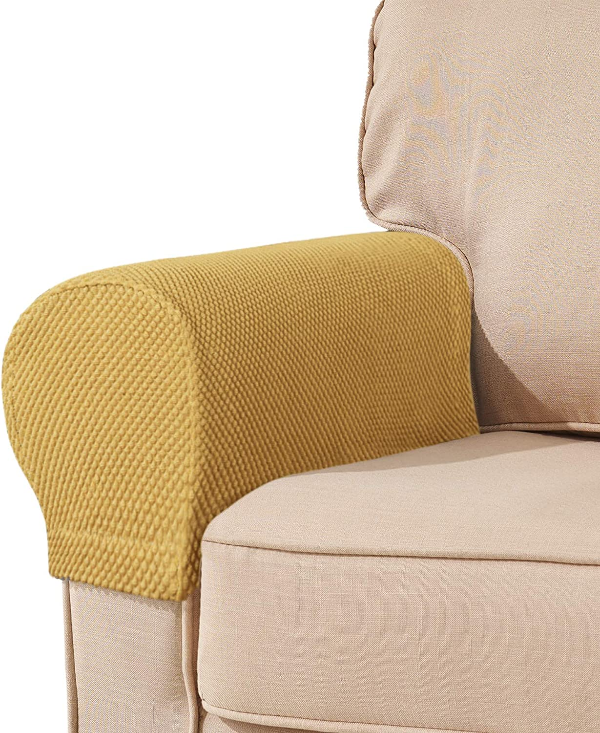 subrtex Spandex Stretch Fabric Armrest Covers Anti-Slip Furniture Protector Armchair Slipcovers for Recliner Sofa Set of 2 (Beige)