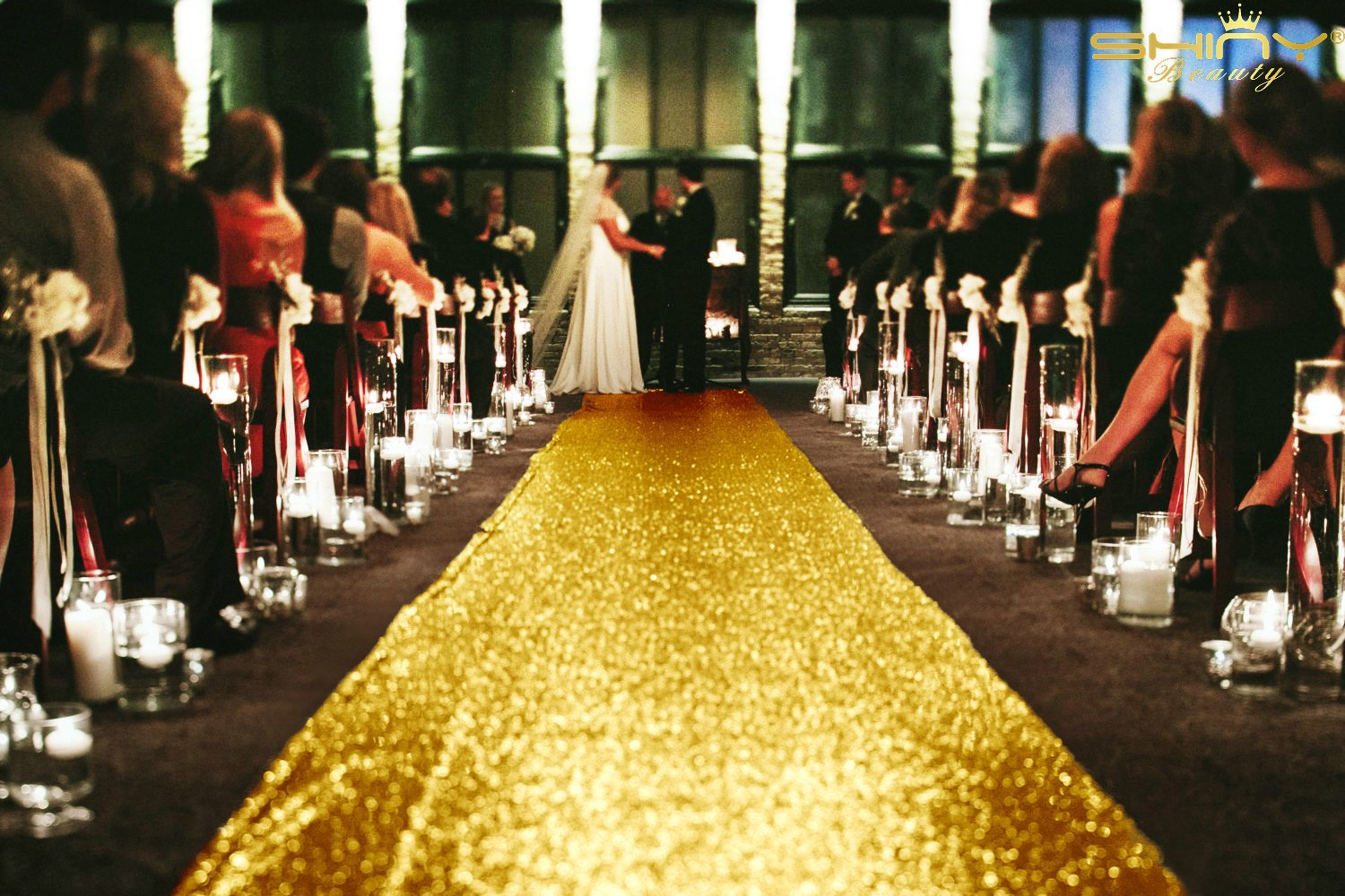 ShinyBeauty Gold Sequin Aisles Foor Runner-4'X10' Wedding Carpet Aisle Runner, Choose Your Sizes (4FTX10FT)