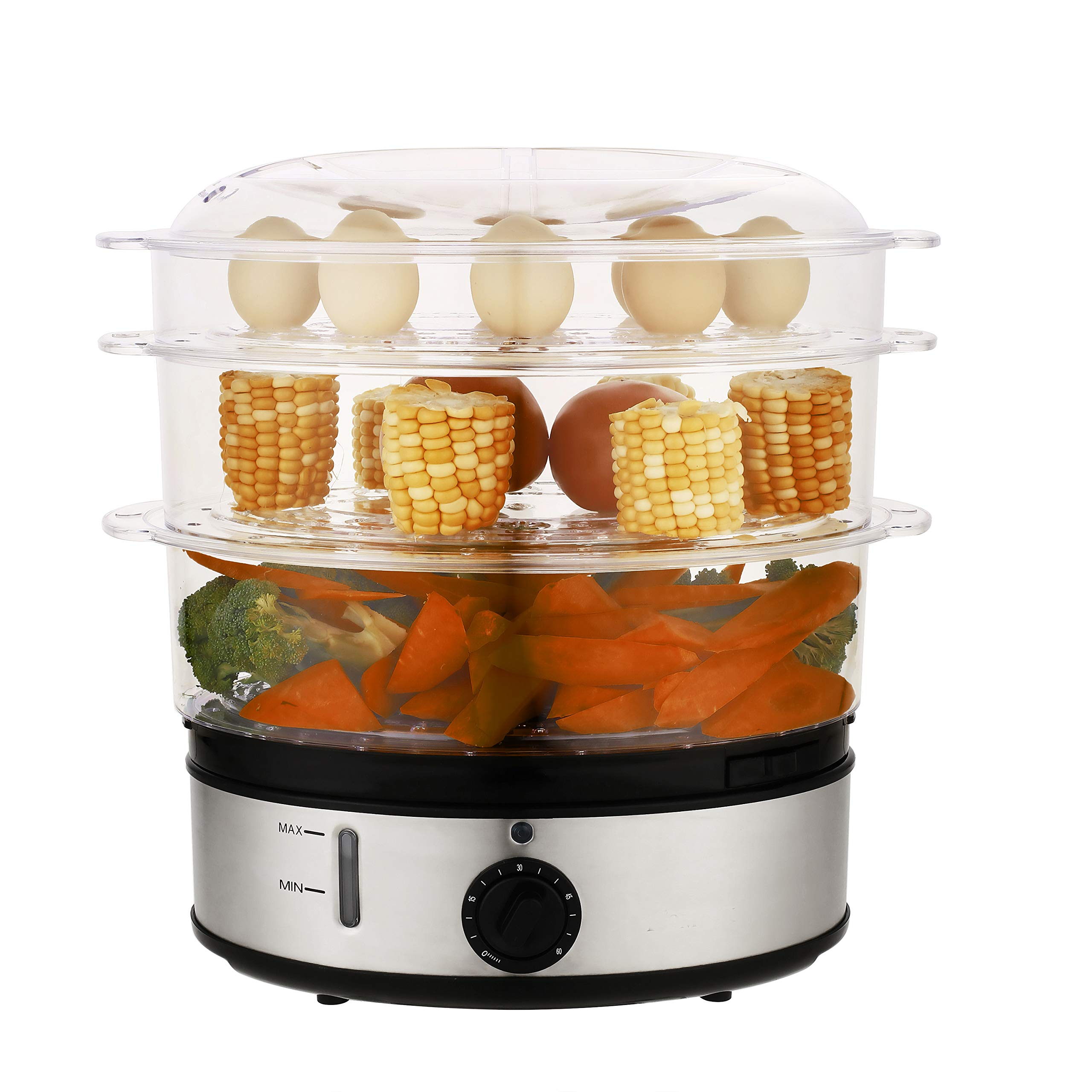 Domtie Food Steamer Vegetable Steamer with 3 Tier Stackable Baskets, timer, Auto Shut-off, BPA Free, Electric Steamer 800W Fast Heat up