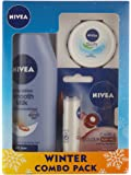 Nivea Smooth Body Milk Lotion, 200ml with Lip Care and Color, Ruby Red, 4.8g and Soft Cream, 25ml