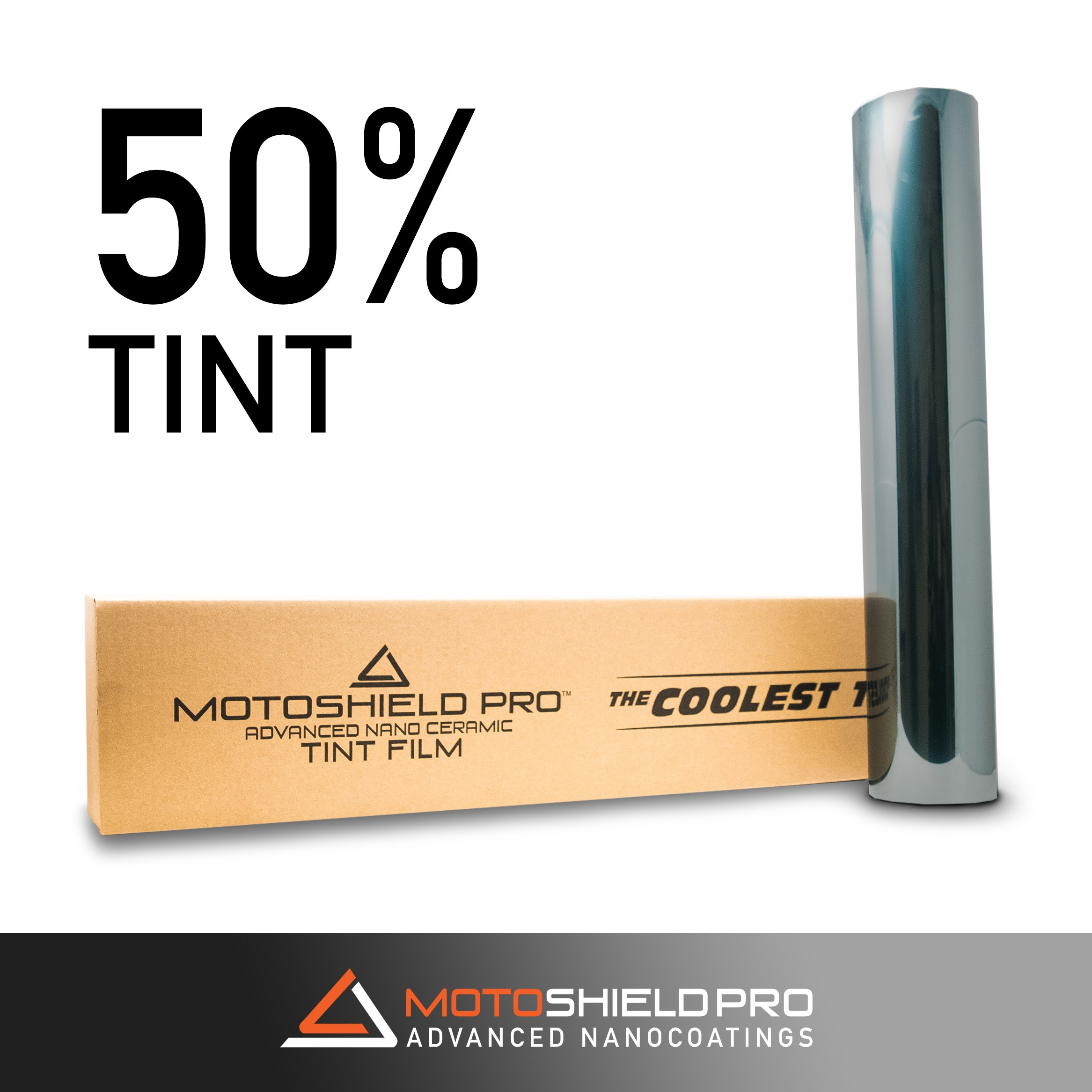 MotoShield Pro Nano Ceramic Tint Film [Blocks Up to 99% of UV/IRR Rays] 20'' x 100' Window Tint Roll (50%)