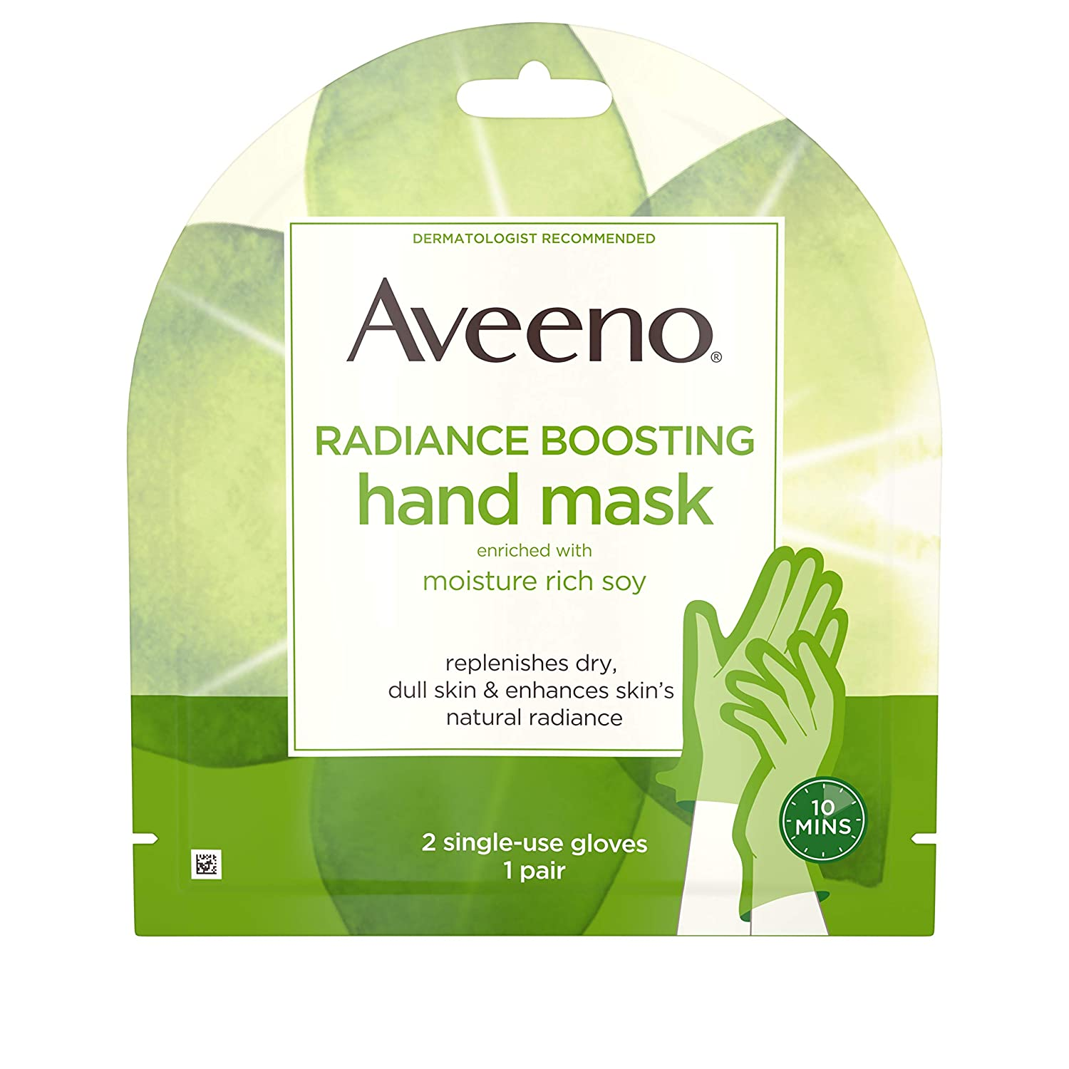 Aveeno Radiance Boosting Hand Mask with Moisture Rich Soy, Moisturizing Hand Gloves to Replenish Dry Dull Skin, Paraben-Free, 1 Pair of Single-use Gloves (Pack of 5)