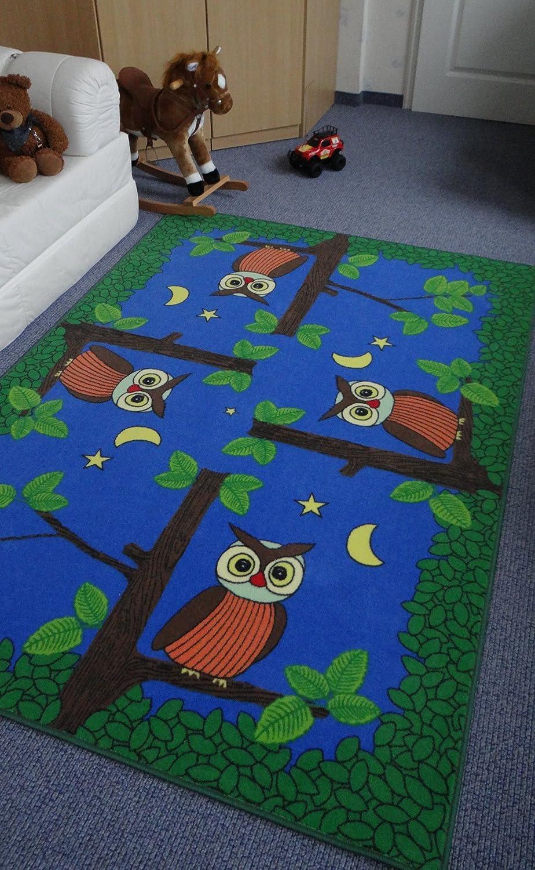 Kinderteppich Spielteppich Eulen bei Nacht Eulenteppich Velours blau 160 x 240 cm