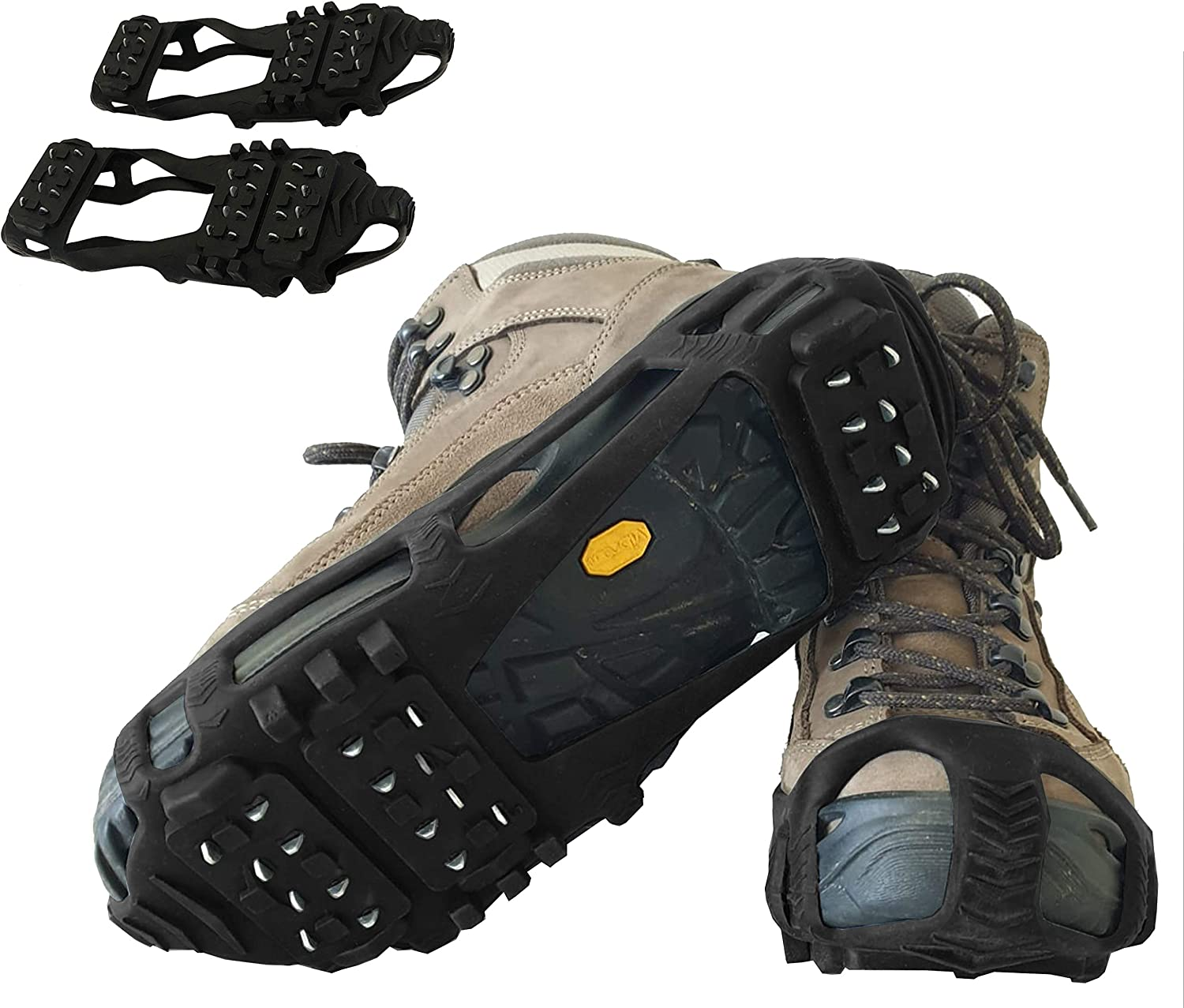 Limm Crampons Ice Traction Cleats - Microspikes Grips Quickly & Easily Over Footwear for Snow and Ice Walk, Hike, Climb, Ice Fishing - Portable - Sizes - M/L/XL