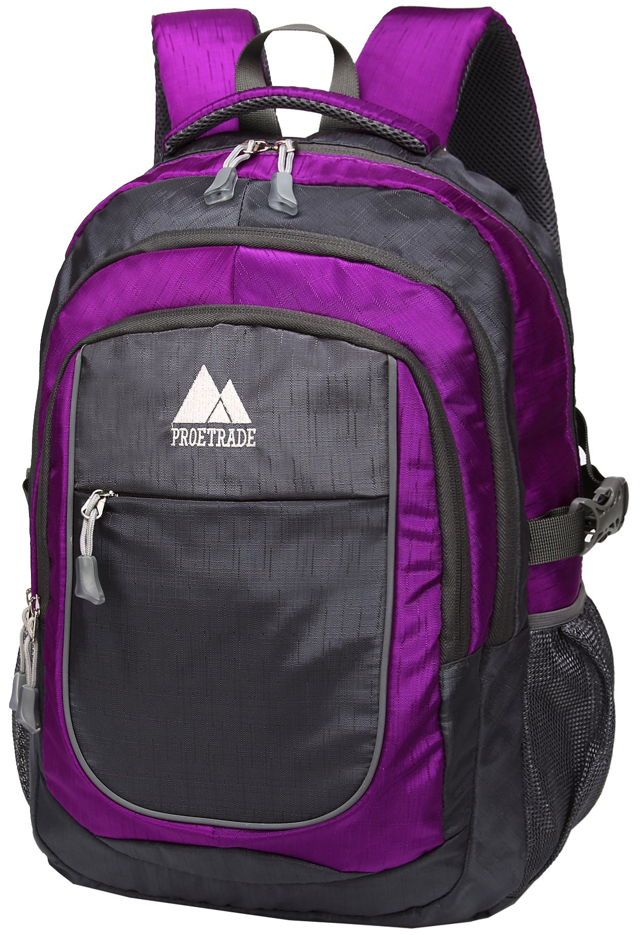 School Backpack For College Travel Hiking Fit Laptop Up to 15.6 Inch Water Resistant (Purple)