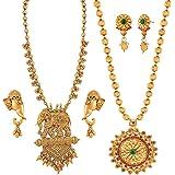 Apara Combo Pearl Necklace nd Bahubali Jewellery Set Earrings for Women