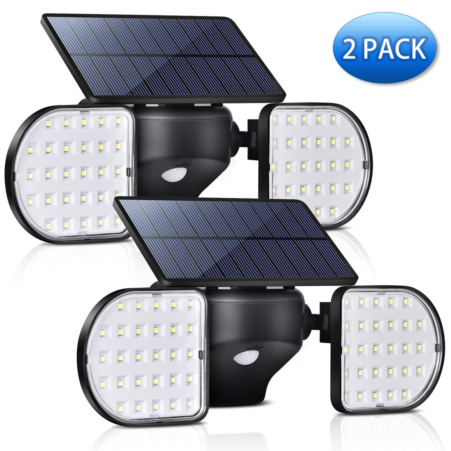 A-ZONE Outdoor Solar Motion Sensor Light, Solar Motion Sensor Security LED Wireless Flood Lights Outdoor with Dual Head Spotlights Rotatable Solar Security Lights for Yard Garden Garage Pack 2