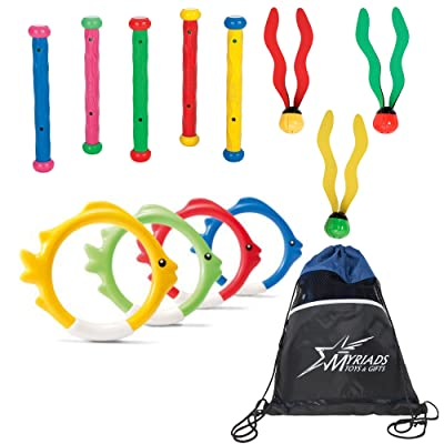 Intex Pool Diving Toys Set of 3 with a Bag: Underwater Fun Balls, Underwater Fish Rings, Underwater Play Sticks with a Drawstring Bag: Toys & Games