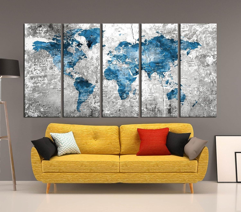 Amazon.com: Blue Push Pin Wolrd Map Wall Art Framed, 5 Panel ...