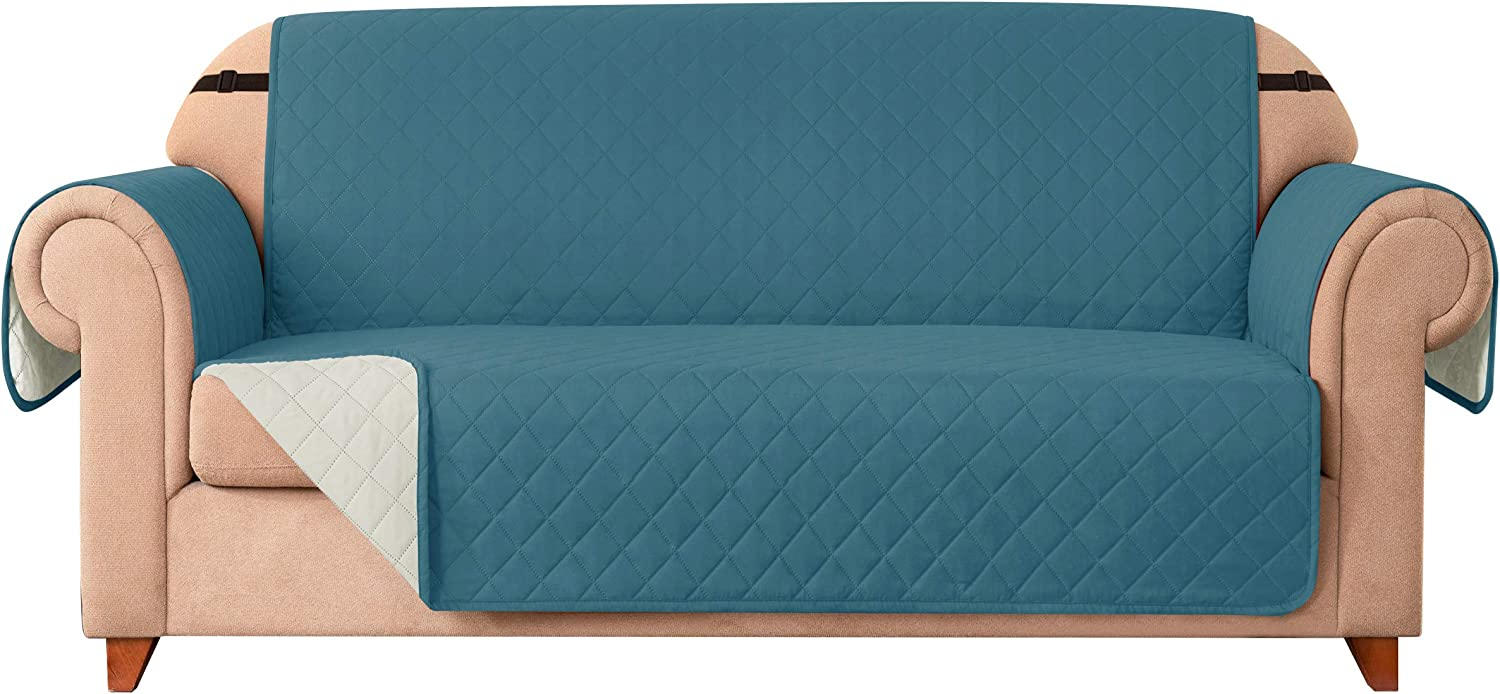 DyFun Sofa Slipcover Reversible Couch Cover Furniture Protector with Elastic Straps for Livingroom Non-Slip Washable Cover for Pets Kids Children (Oversized Sofa,Turquoise)