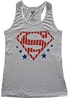 DC Comics Superman Stars and Stripes Juniors White Racerback Tank Top XS