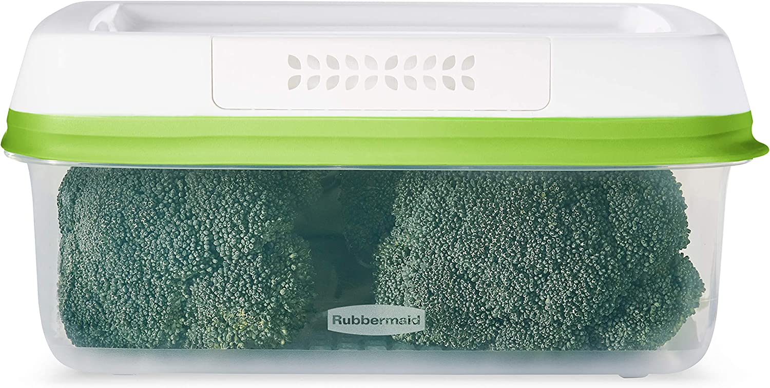 Rubbermaid FreshWorks Saver, Large Short Produce Storage Container, 11.3-Cup, Clear