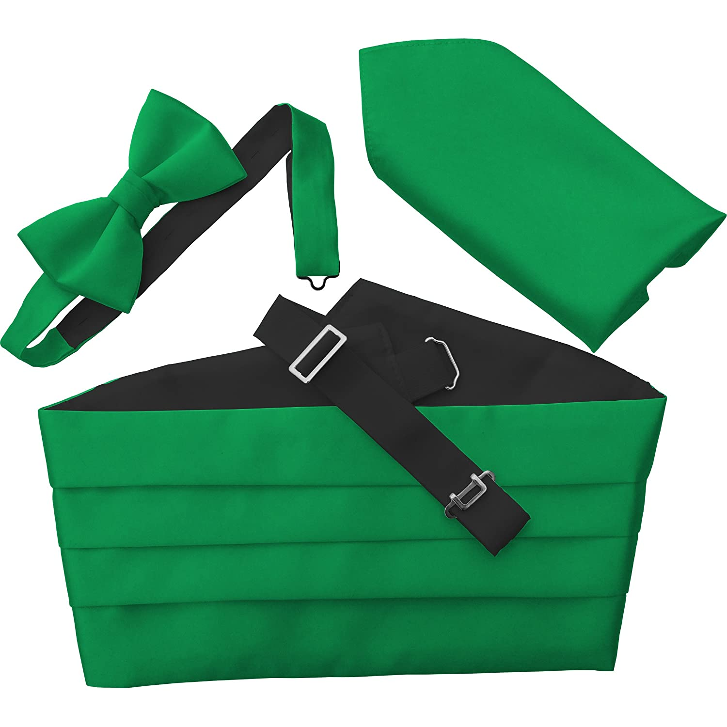 Emerald Green Satin Cummerbund Set (Including Bow Tie & Hanky) St Patrick's Day