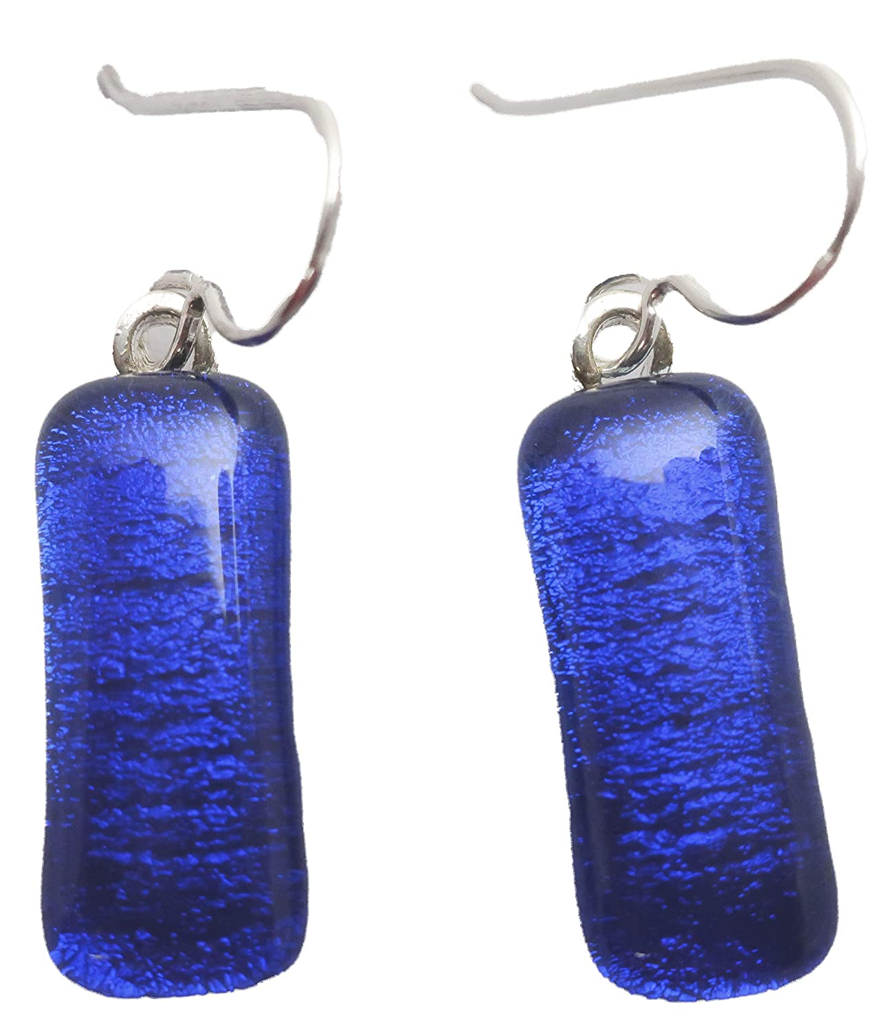 Chain Set34. Dichroic Dangling Earring Square Pendant Cobalt Blue Dichroic Glass Necklace Earring Set Complete Gift Fused Glass Pendant