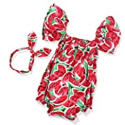 Newborn Baby Girl Summer Clothes Pink Jumpsuits Watermelons Printed Short Sleeve Romper with Bowknot Headband