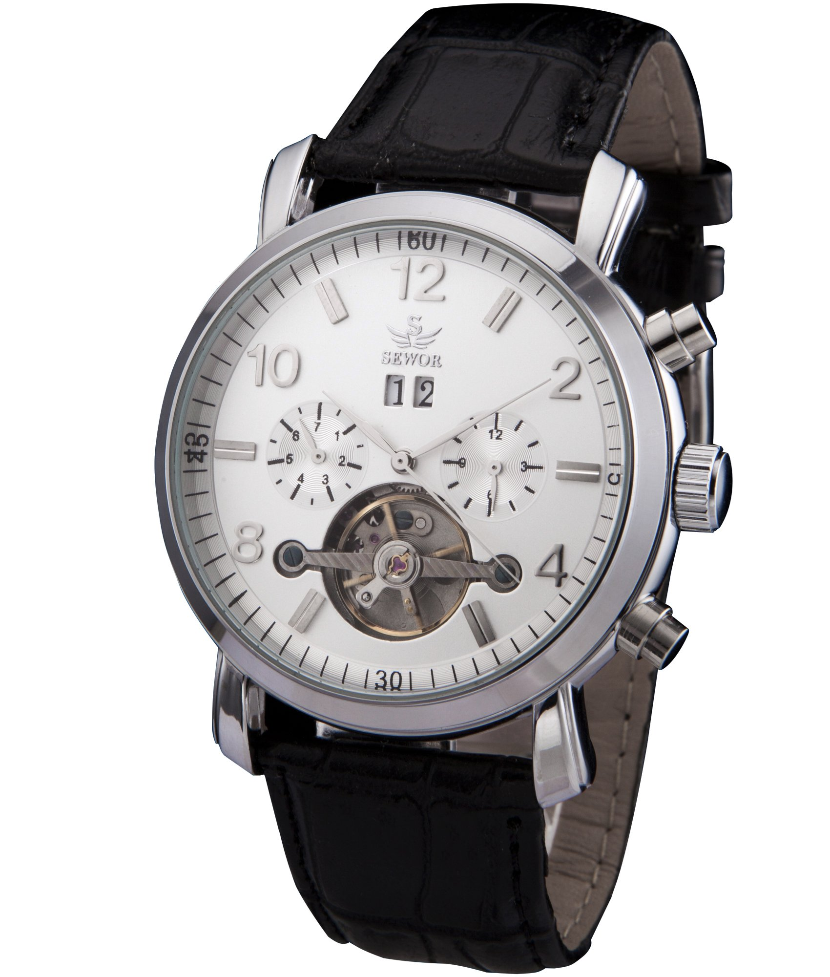 SEWOR Mens Tourbillon Automatic Self Wind Wrist Watch (White)