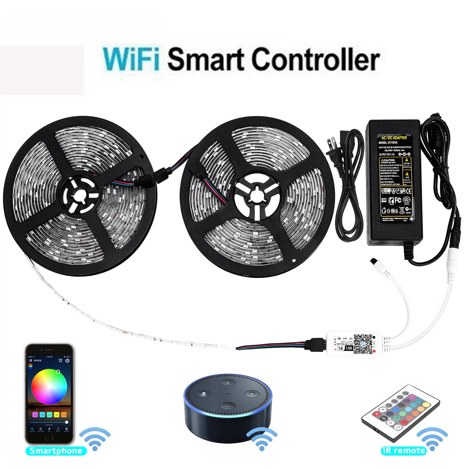 XGBTEL Wifi Wireless Smart Phone Controlled Led Strip Light Kit with DC12V UL Listed Power Supply Non Waterproof SMD 5050 32.8Ft(10M) 300leds RGB Timer LED Tape Lights Work with Android, IOS and Alexa