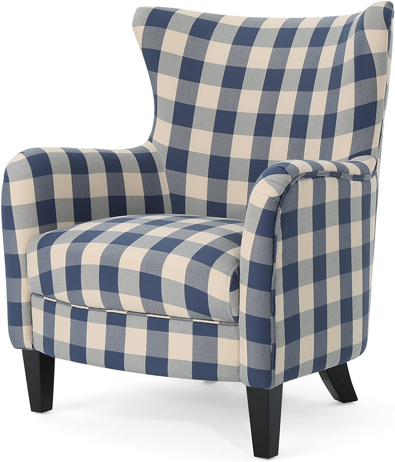 Christopher Knight Home 306114 Oliver Farmhouse Armchair, Blue Checkerboard, Floral