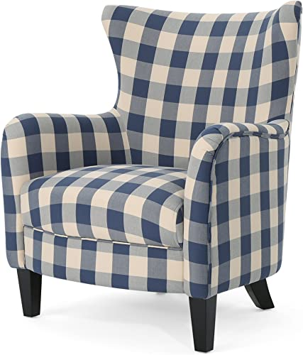 Christopher Knight Home Oliver Farmhouse Armchair, Checkerboard, Blue Floral