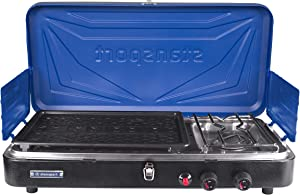 Stansport Propane Stove and Grill Combo, Blue with Black Trim