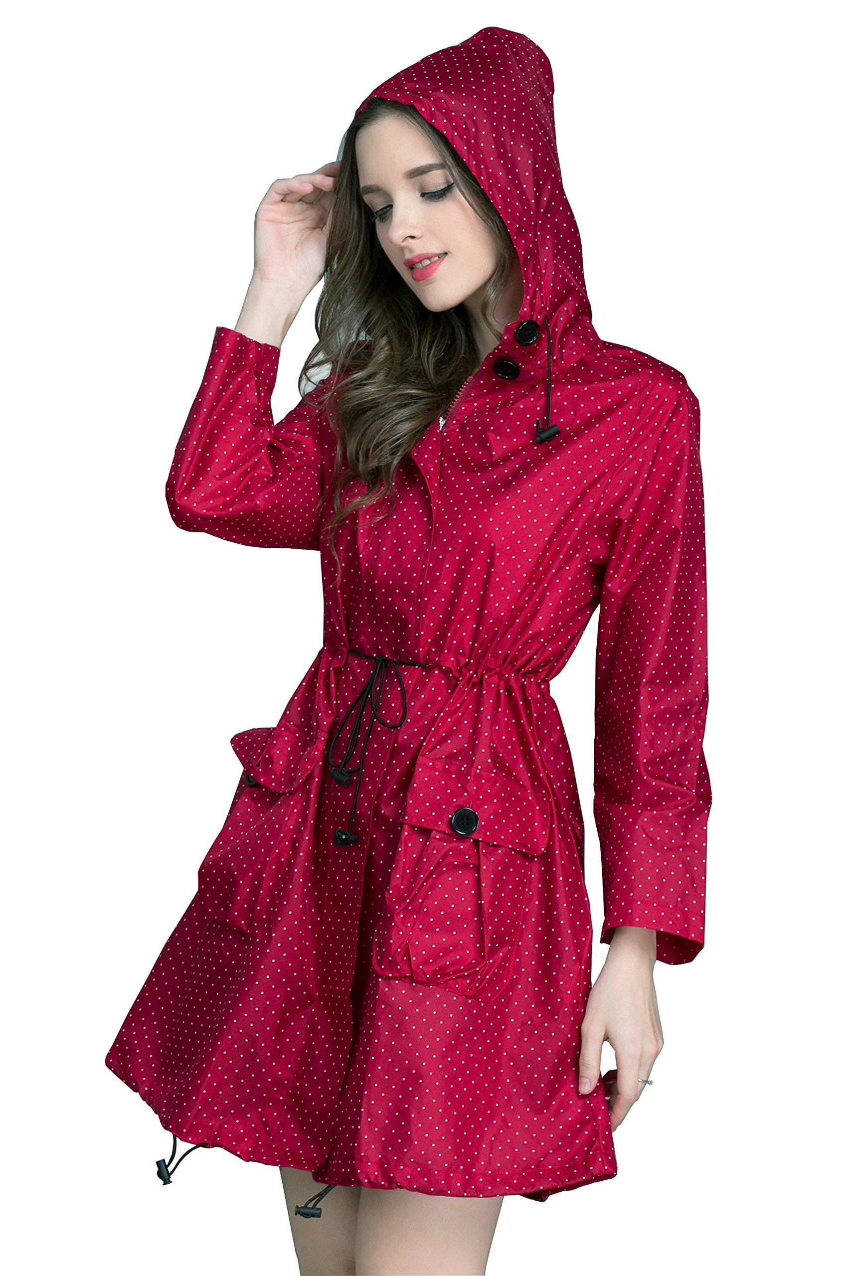 Aeman Women's Raincoat Waterproof Portable Outdoor Dot Rain Jacket Poncho with Hood and Zip (Red-1)