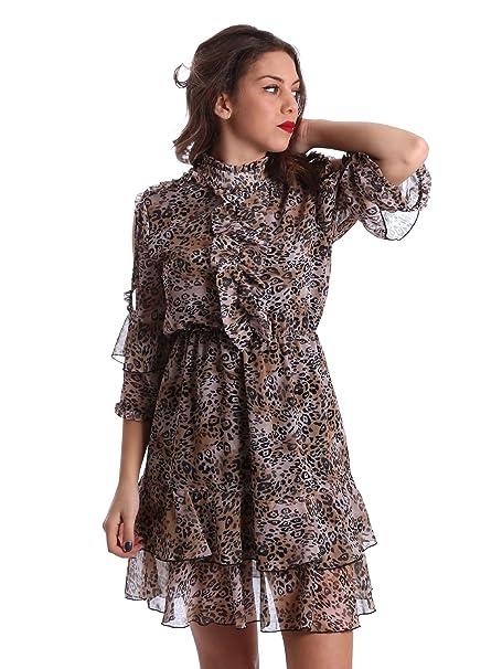 timeless design f2b66 021e2 Denny Rose Abito Manica 3/4 Leopardato: Amazon.it: Abbigliamento