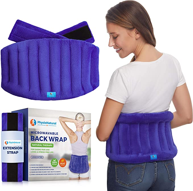 Microwavable Extra Large Heating Wrap for Lower Back Pain – Moist Heat Therapy Pad for Instant Relief in Case of Aches, Muscle Spasms, Pinched Nerves, Slipped Discs, Fibromyalgia, and Surgery Recovery