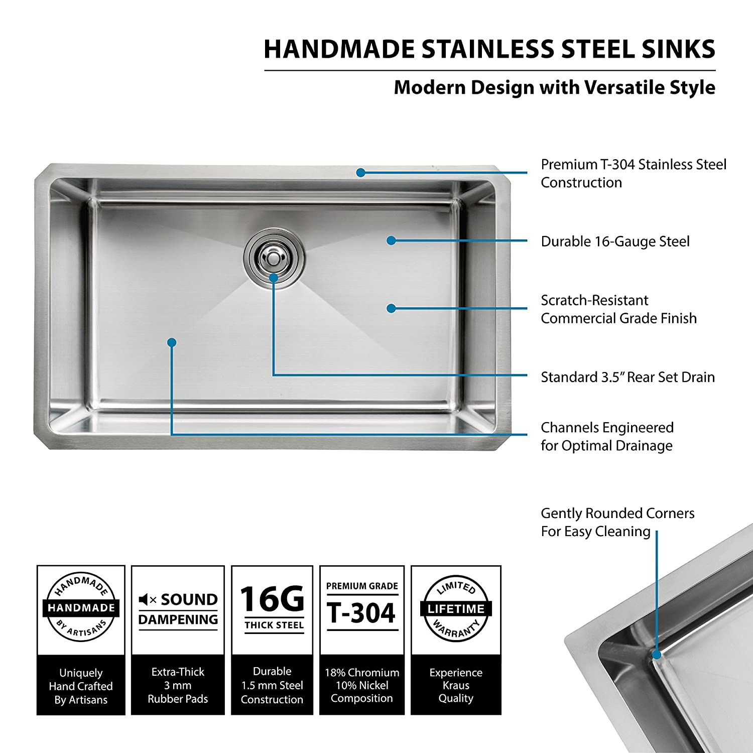 Vessel s c m quality sinks faucets and accessories - Kraus Khu100 30 30 Inch 16 Gauge Undermount Single Bowl Stainless Steel Sink Amazon Com
