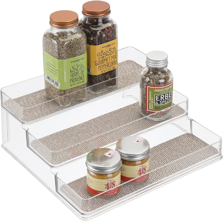 Amazon Com Idesign Twillo Plastic Stadium Spice Rack 3 Tier Organizer For Kitchen Pantry Cabinet Countertops Vanity Office Craft Room 9 2 X 10 X 4 Metallico And Clear Spice Racks For Cabinets Kitchen