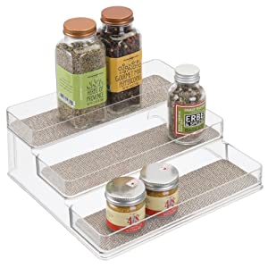 "iDesign Twillo Plastic Stadium Spice Rack, 3-Tier Organizer for Kitchen Pantry, Cabinet, Countertops, Vanity, Office, Craft Room, 9.2"" x 10"" x 4"", Metallico and Clear"