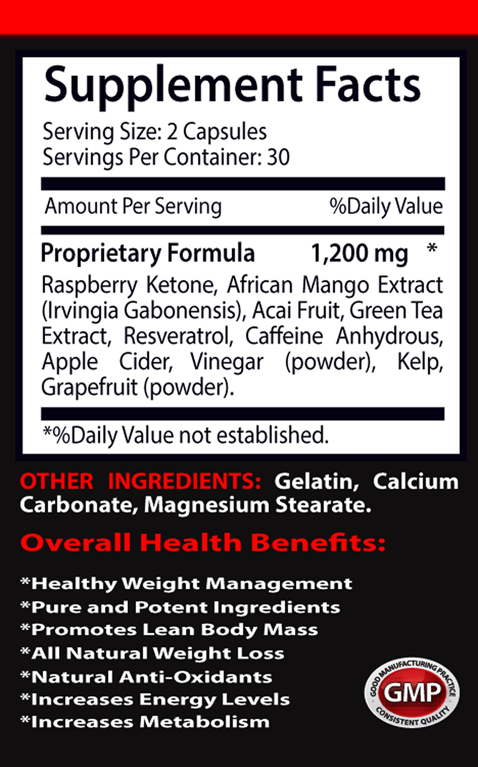 Blood sugar support supplements - RASPBERRY KETONES LEAN 1200 EXTRACT - Blood sugar support supplements - 6 Bottles 360 Capsules by VIP VITAMINS (Image #2)