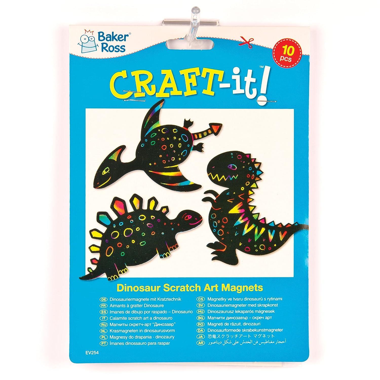 Baker Ross Imanes de Dinosaurios para Rascar Manualidades Creativas Scratch Art Perfectas como Decoraciones Personalizadas y Actividades de Fiestas Infantiles (pack de 10)