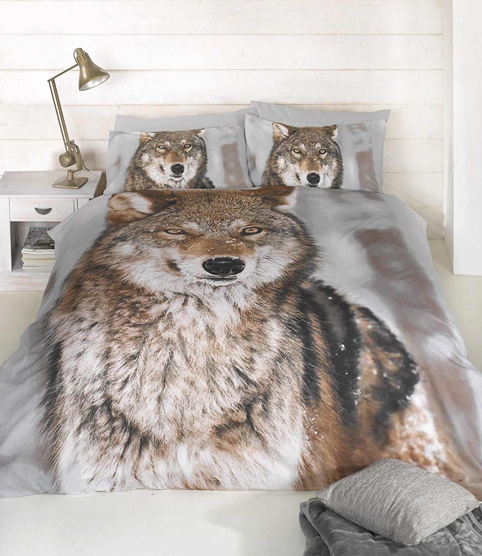 Wolf Panel Duvet Set, Multi, Double Ashley Wilde