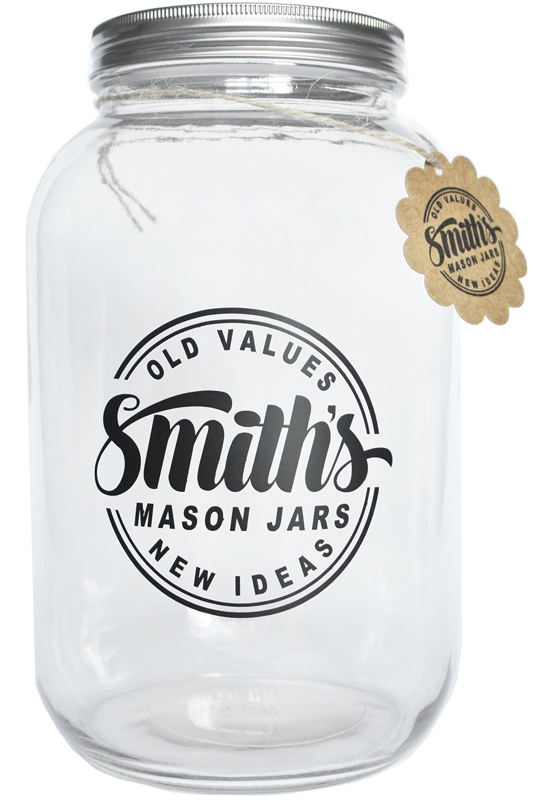 Smith's Mason Jars 1 Gallon Glass Jar with Plastic and Metal Lids - Ideal for Kumbacha, Kitchen & Dining, Brewing & Fermentation Fermenters, and Canning Jars