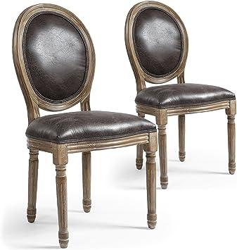 Menzzo Louis 2 chaises Lot XVIPolyuréthaneMarron90x101x78 de cm dxCorBe