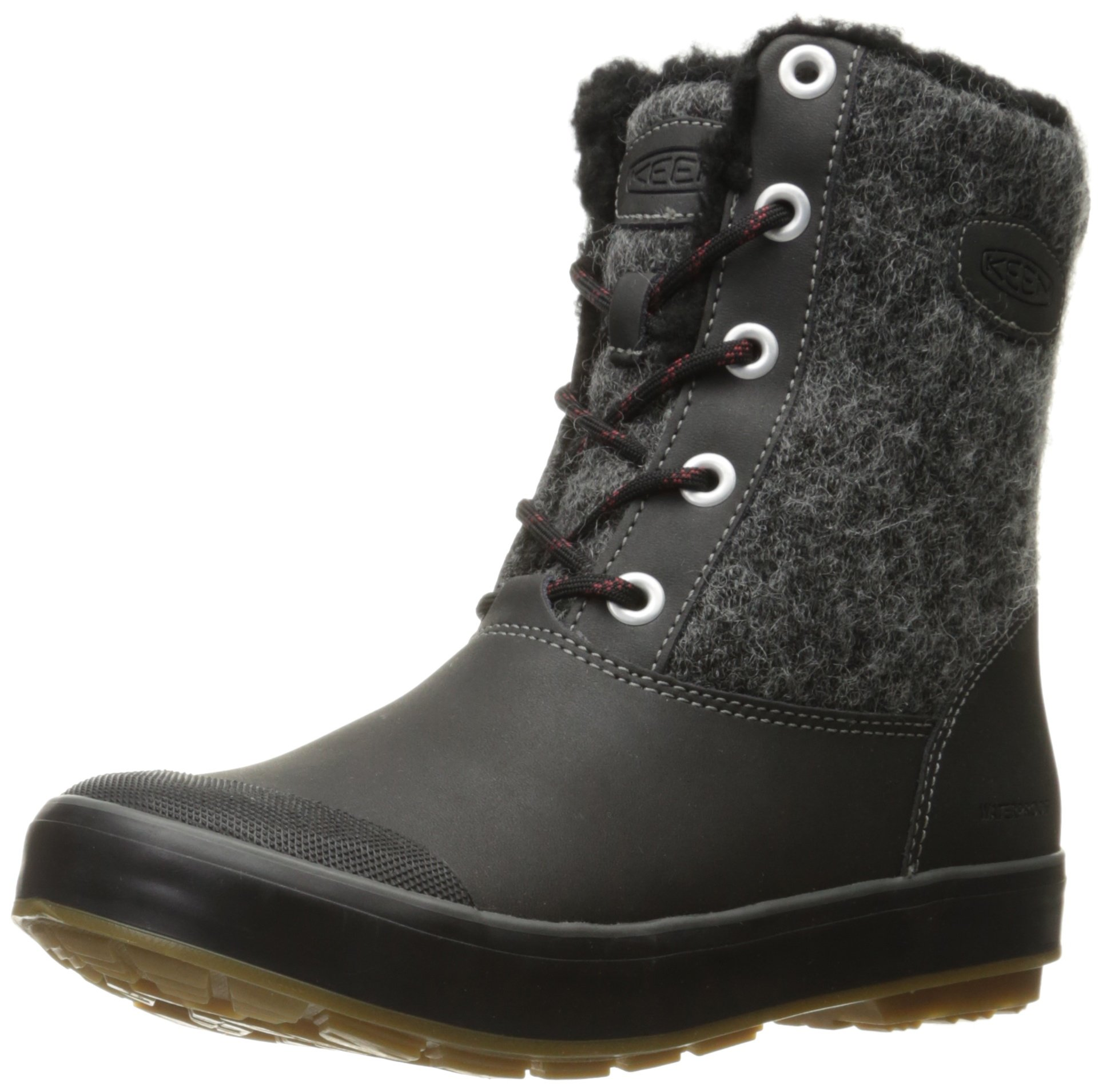 KEEN Women's Elsa Wp-w Snow Boot, Black Wool, 8 M US by KEEN