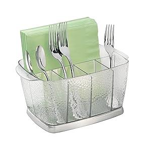 InterDesign Rain Plastic Silverware Caddy Organizer Flatware Holder for Kitchen Countertop Storage, Dining, Outdoor Patio, Picnic Tables, Clear