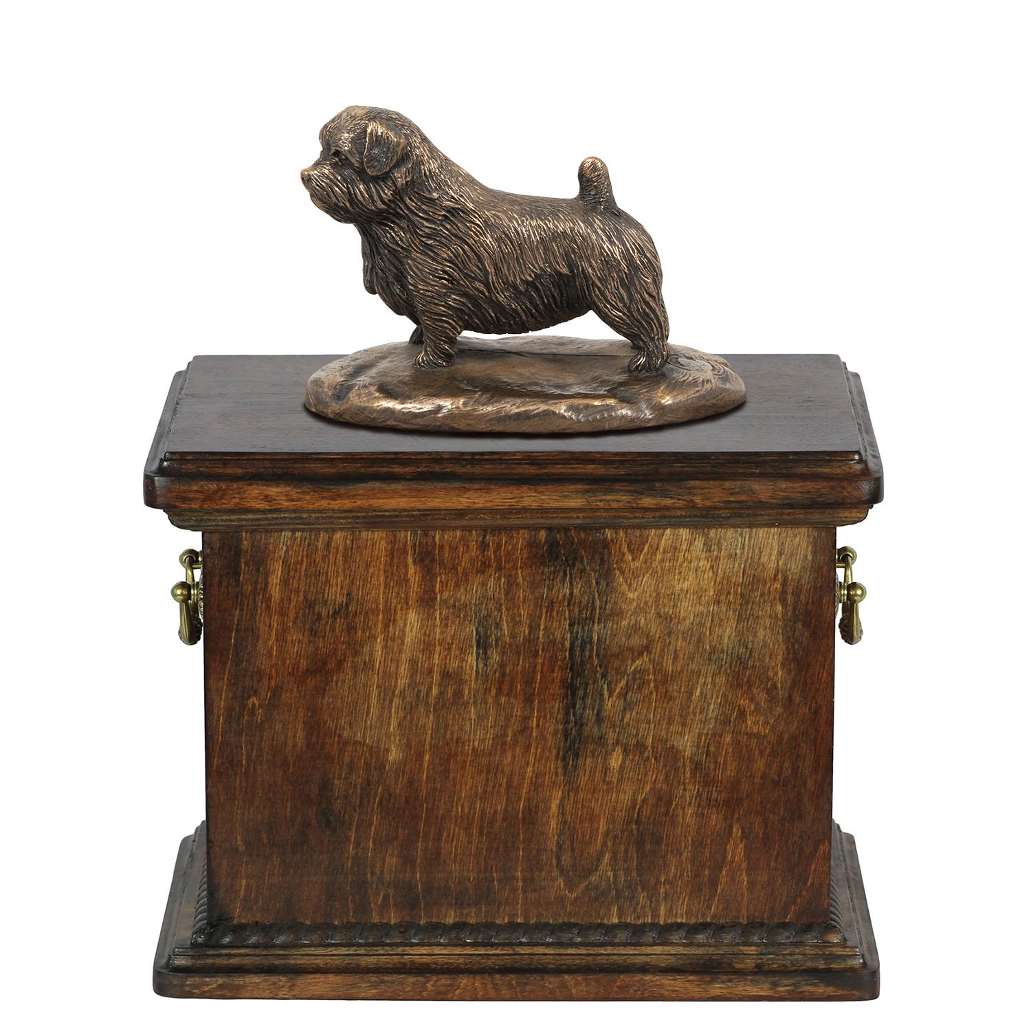 Norfolk Terrier, memorial, urn for dog's ashes, with dog statue, ArtDog