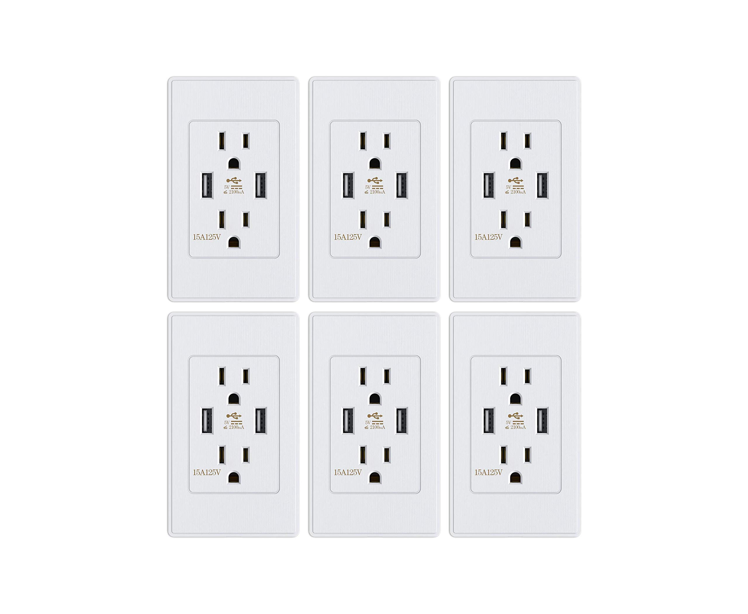 Standard Outlet 2 US Standard Socket with Dual USB Ports Outlet Cover Wall Plates Included Matte Surface (6 Packs)