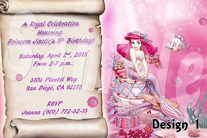 amazon com princess ariel personalized birthday invitations more