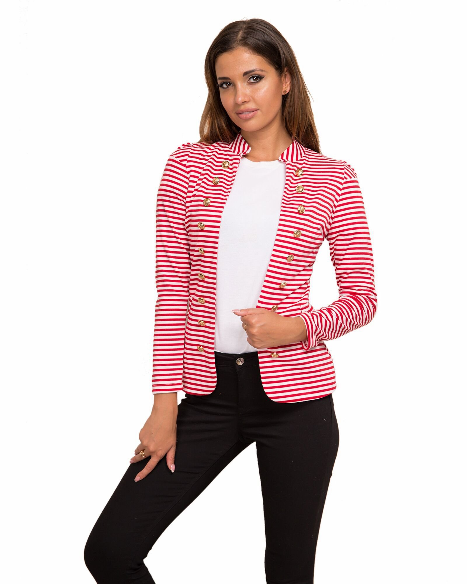 Yissang Women's Striped Decor Button Open Blazer Long Sleeve Red Small