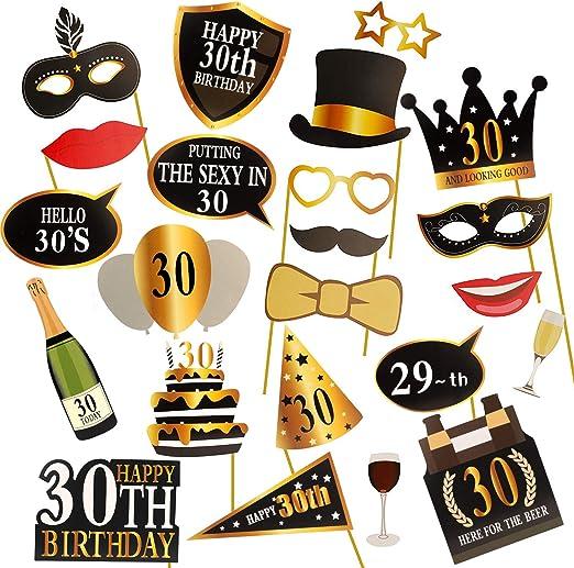 negro y dorado suministros de decoraci/ón para fiesta de 30 cumplea/ños y regalos KissDate 24 accesorios para fotomat/ón de 30 cumplea/ños divertido kit de bricolaje para hombres y mujeres
