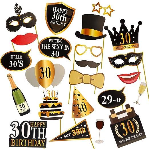 KissDate 24 accesorios para fotomatón de 30 cumpleaños ...