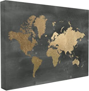 Amazon three hands 25894 framed embellished canvas oil painting stupell home dcor black and gold world map oversized stretched canvas wall art 24 x gumiabroncs Choice Image